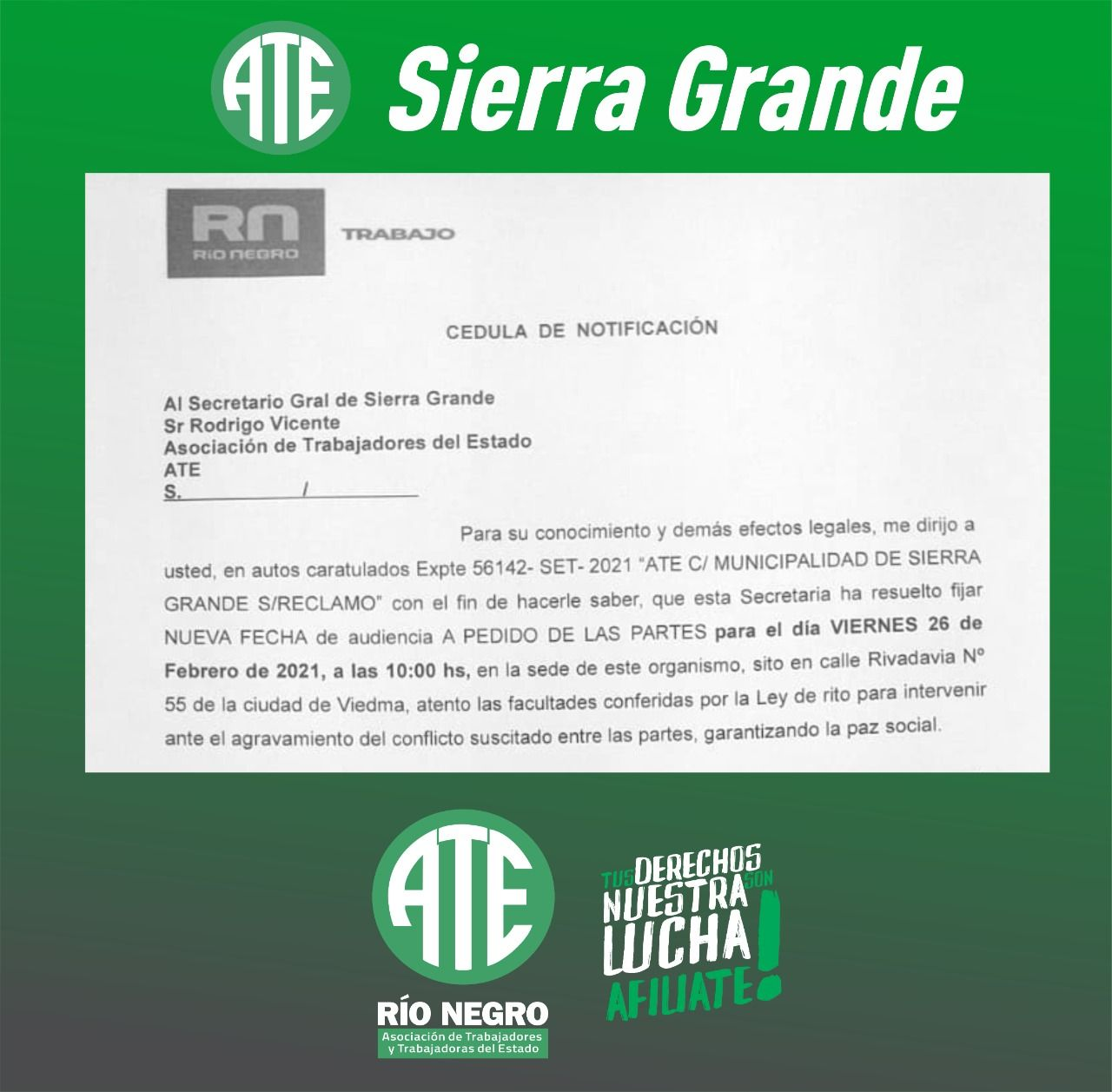 Sierra Grande | Por despidos ATE se reúne con el intendente el 26 de febrero